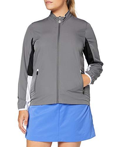 Island Green Insel Grün Golf IGLTOP1683AW Frauen Full Zip Jersey Contrast Sports Anzug Stil Top, Bedrock Gray, 16