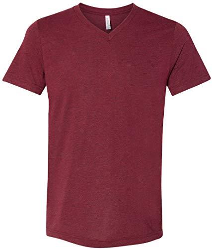 Yoga Clothing For You Mens Tri Blend V-Neck Tee Shirt (Mens XL, Cardinal Triblend)