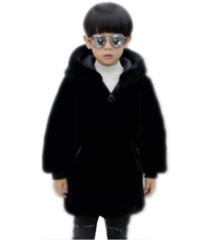 [ユケ二ー] カーディガン 防寒服 フード付き 厚手 暖かい 男の子 ジュニア ジャンパー 上着 フェイクファー コート もこもこ 韓国風 プレゼント