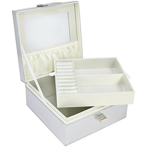 com-four® Schmuckkasten mit Spiegel und herausnehmbarem Fach, Schmuckaufbewahrung im silberfarbenen Kästchen, 17 x 17 x 8 cm (01 Stück - silberfarben)