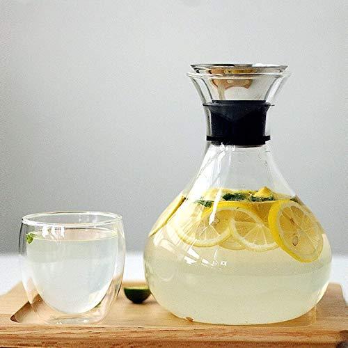 PPuujia Jarra de vidrio transparente con tapa de acero inoxidable, jarra de agua, jarra de vidrio, jarra de jugo de leche, regalo botella de agua 1 L/1,5 l (color 1 L)
