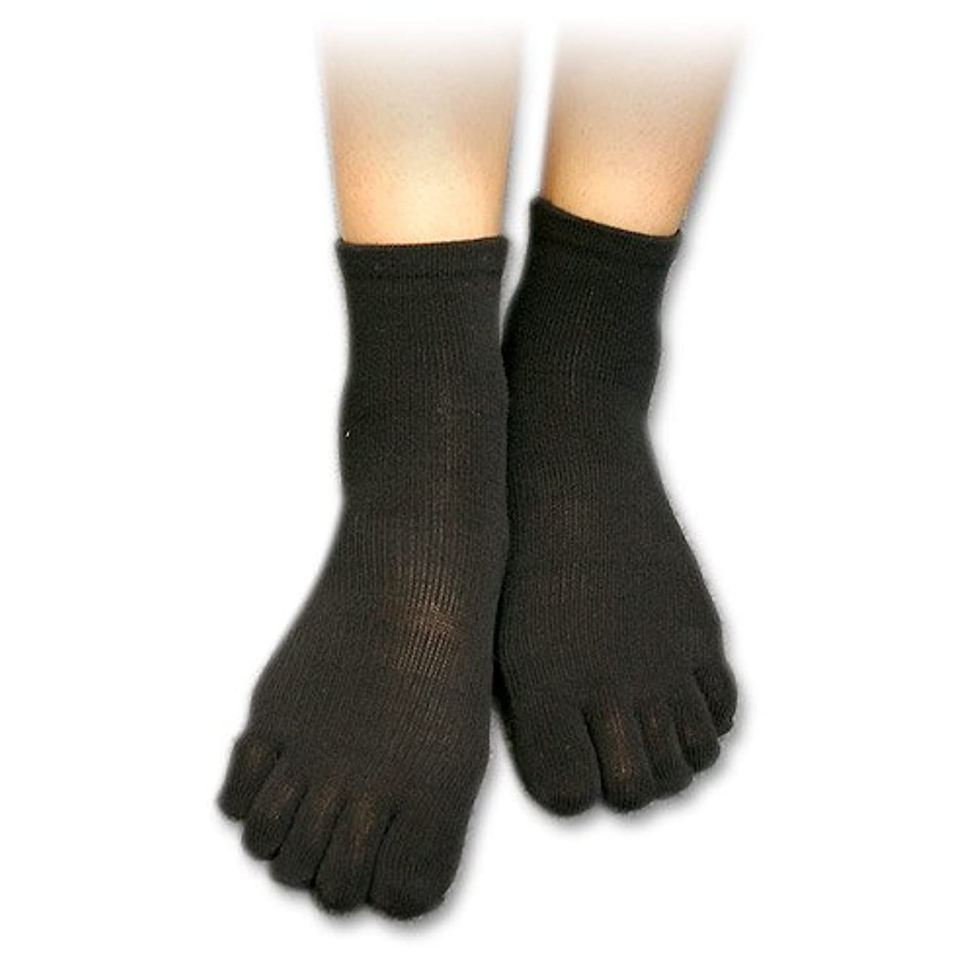 外部お金ゴム褐色足裏安定5本指靴下(S(22-24cm), ブラック)