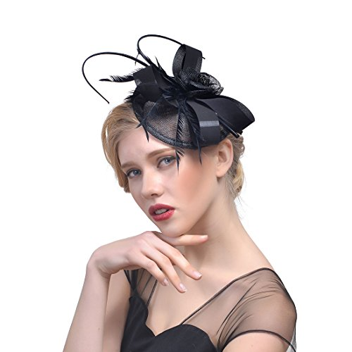 MANYU dressfan Elegantes Stirnband Fascinator Cocktail Hut Feder esh Kleiner Hut Kopfschmuck Party Bankett Braut Haarschmuck
