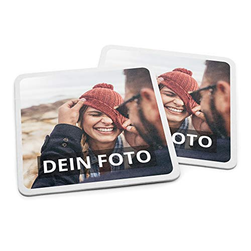 PhotoFancy Bierdeckel mit Foto personalisiert - Personalisierbare Bierdeckel Bedrucken (Eckig) (Pappe, 50er Set)
