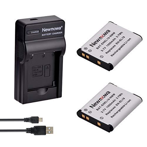 Newmowa EN-EL19 Batería (2-Pack) y Kit Cargador Micro USB portátil para Nikon EN-EL19 and Nikon Coolpix W100, S100, S2500, S2600, S2700, S2750, S3100, S3200, S3300, S3400, S3500