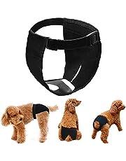 LeerKing Fisiológicas Pantalones para Perros Higiénicas menstruales Pañales Bragas para Mascotas Sanitarios Lavable Reutilizables 3 Pack, Negro XL
