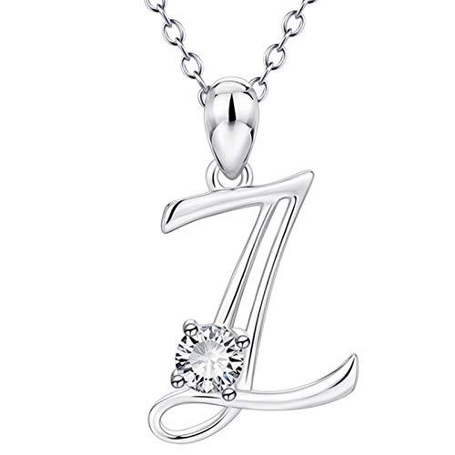 Hunpta - Collar con colgante de letra A a la Z del alfabeto con circonita cúbica para mujer, colgante personalizado, gargantilla para cumpleaños o Navidad