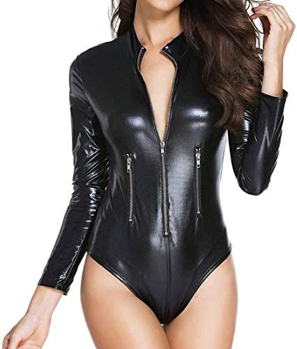 Wonder Pretty Womens Latex Wet Look Catsuit Sex Zip Front Bodycon Leather Club Jumpsuit Faux product image