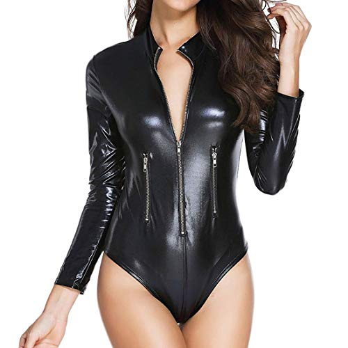Wonder Pretty Womens Latex Wet Look Catsuit Sex Zip Front Bodycon Leather Club Jumpsuit Faux Leather Teddy Lingerie, Black1, X-Large