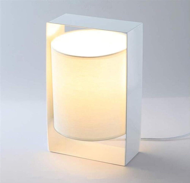 Moderne Einfache Wohnzimmer Schlafzimmer Nachtleselampe Stoff Schatten Schmiedeeisen Geometrische Zylinder Wei Tischlampe
