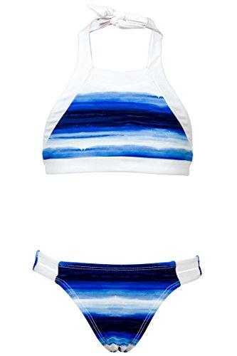 Snapper Rock Mädchen Ombre Stripe Bikini, Blau, 170-176cm (15-16 Jahre)
