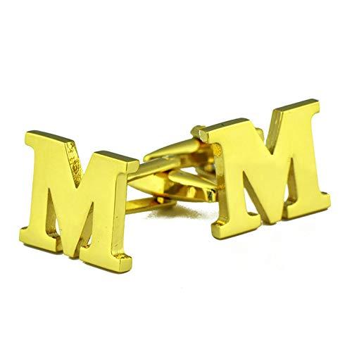 ANAZOZ Herren Manschettenknöpfe Kupfer Manschettenknopf Hemd Buchstabe M Elegante Cufflinks Hemdanzug Gold mit Kostenlose Gravur