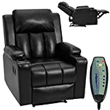 HOMHUM Massage Recliner Chair Leather Recliner for Living Room Ergonomic Home Sofa Chairs w/ 2 Cup Holders, Heat & Massage,Side Pocket, Remote Control, Black
