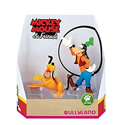 Bullyland 15085 Toy Set Walt Disney Mickey Mouse Gift Set Pluto and Goofy, Lovingly Hand-Painted Figures, PVC-, Great Gift for Boys and Girls for Imaginative Play