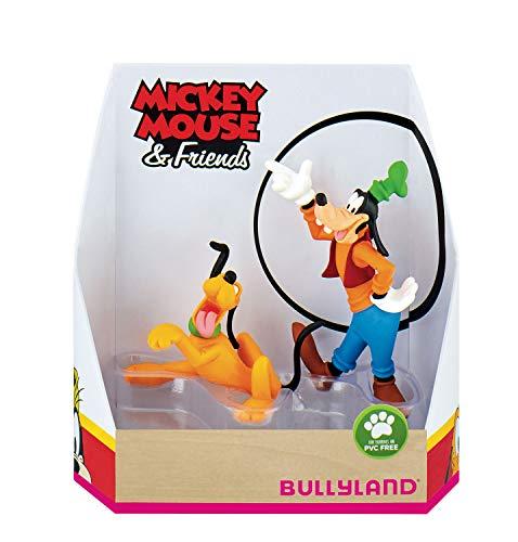 Bullyland 15085 - Spielfigurenset, Walt Disney Mickey Mouse Geschenkset-Pluto und Goofy, liebevoll handbemalte Figuren, PVC-frei, tolles Geschenk für Jungen und Mädchen zum fantasievollen Spielen
