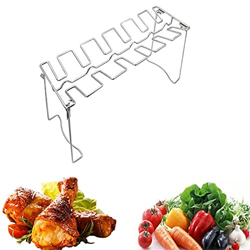 NAUXIU Roasted Chicken Rack Holder,Chicken Leg Wing Rack 14 Slots Stainless Steel Metal Roaster Stand with Drip Pan For BBQ, Picnic, Smoker Grill Or Oven Sin Disco