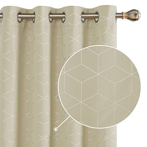 Deconovo Diamond Foil Printed Curtains Thermal Insulated Blackout Curtains Ring Top Curtains for Living Room W46 x L72 Inch Beige One Pair