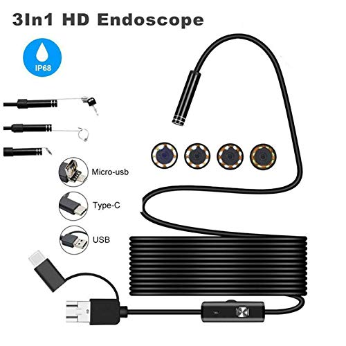 BMZGGIV Portátil Flexible Impermeable de la cámara HD Industrial USB 8 LED de Video Inspección boroscopio endoscopio 3 en 1 portátil para inspección de vagones de tuberías