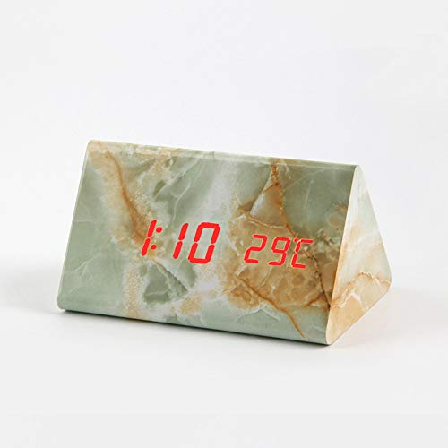 CZHJG Kreative Led Sound Control Temperatur Elektronische Uhr Imitation Marmor Muster Nach Hause Wecker A