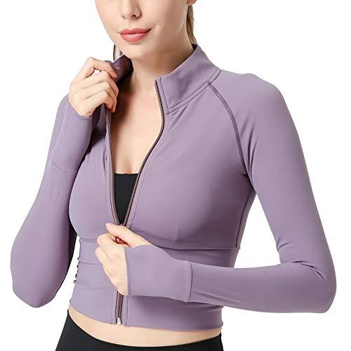 FEOYA Chaqueta de running de manga larga con capucha para mujer, para correr, yoga, fitness, deporte, entrenamiento, camiseta de entrenamiento, de la talla S-XL morado S