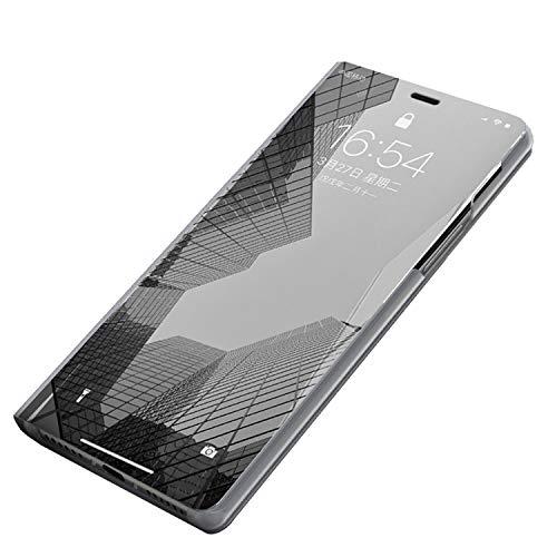 Custodia Samsung Galaxy s9 plus Clear View Standing Cover Galaxy s9 Mirror Flip Custodia 360 Gradi Protezione Portafoglio Elegante Flip Case per Galaxy s9 plus Copertura (Galaxy S9 Plus, 6 argent)