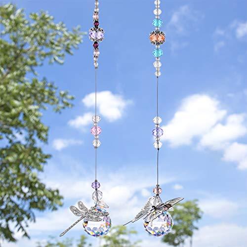 H&D HYALINE & DORA Kristall Regenbogen Sonnenfänger,Metall Schmetterling Libelle Anhänger,Glaskugel Prisma für Fenster,2er Pack