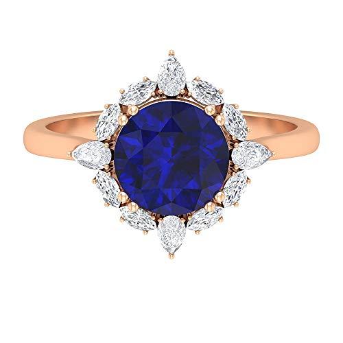 Anillo de zafiro azul creado en laboratorio, de 8 mm, anillo de halo de diamantes HI-SI, anillo de compromiso Sunburst, anillo de corona, anillo de oro simple, oro de 18 quilates azul