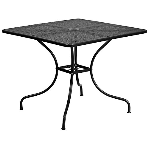 "Flash Furniture Commercial Grade 35.5"" Square Black Indoor-Outdoor Steel Patio Table"