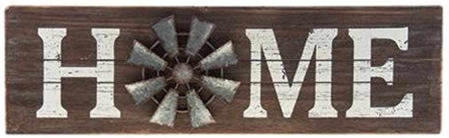 CWI Gifts Home Sign with Windmill Accent, Multicolord