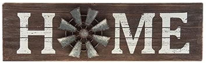 CWI Gifts Home Sign with Windmill Accent, Multicolored