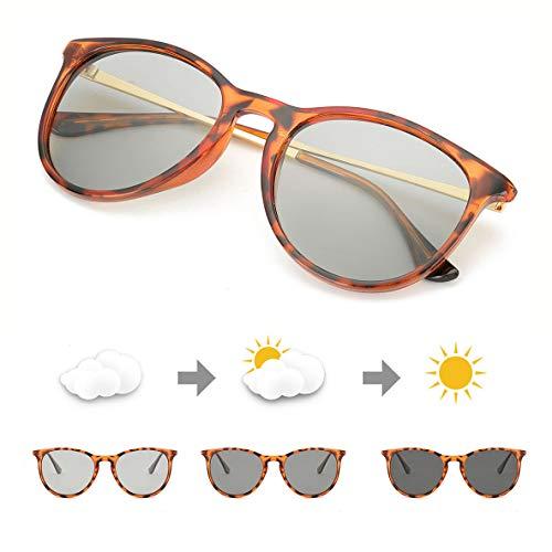 TJUTR Photochromatisch Sonnenbrille für Herren Damen, Polarisiert Klassische Retro Runde Brille Autofahren- 100% UV400 Schutz (Leopard/Grau Photochromatisch)