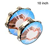 Awhao Handheld Double-Row Tambourine Frame Drum for Church Party Dance Prop Adult Kids