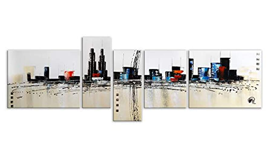 World Art TW60157 Aesthetic Wooden Frame Abstract City 60x170x3 cm Size: 24 x 67 x 2 Inch