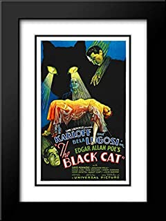 Black Cat Poster, 1934 18x24 Black Modern Frame and Double Matted Art Print by Hollywood Photo Archive