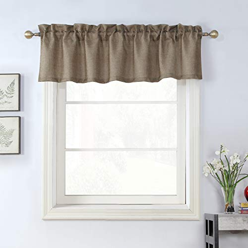 Rama Rose Burlap Natural Taupe Valance Rod Pocket Kitchen Window Curtain Valance Rustic Home Decor 56 by 16 Inches