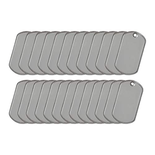 Ball Chain Blank Military Dog Tags 25 Count | Stainless Steel Matte Finish | 2 x 1.125 inches | Rust and Corrosion Resistant