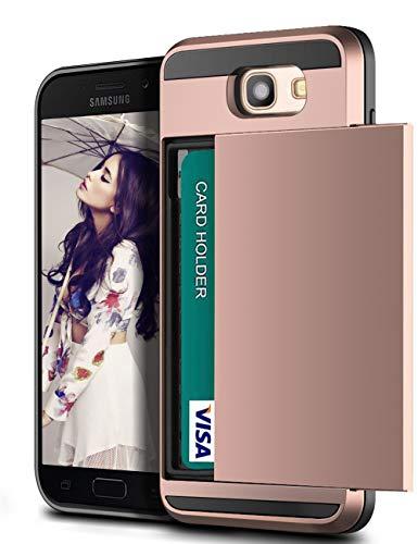 Vunake Compatible mit Samsung Galaxy A5 2017 Hülle Kartenfach Handyhülle Doppelte Schutzschicht Silikon TPU PC Fallschutz Card Holder Schutzhülle für Galaxy A5 2017 Case Cover Rosegold