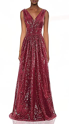 Kate Kasin Women 's Sequin Formal Evening Prom Dress Burgundy US14 KK199
