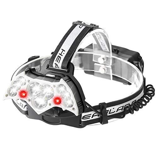 [2020 NEW] Aerb Lampada da Testa, Torcia Frontale LED USB, 10 LED Super luminoso, 12000LM e 7 Modi Luce Regolabile, Impermeabile IPX6, Per Escursioni, Campeggio, ciclismo, Corsa, Speleologia, Pesca.