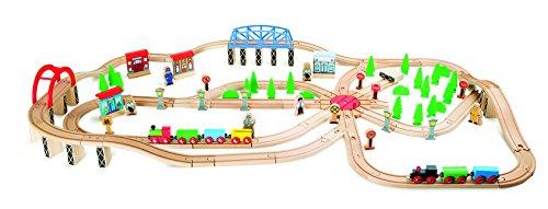 small foot 10087 Eisenbahnset Berufsverkehr, Spielset mit Schienen, Figuren UVM, Holzeisenbahn für Kinder ab 3 Jahren Eisenbahn
