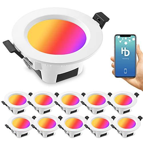 10 focos LED empotrables con Bluetooth, intensidad regulable, 5 W, 230 V, RGBWC, CCT (2700 K-6500 K), luz de techo, 16 millones de colores, sincronización de música, temporizador, función de memoria