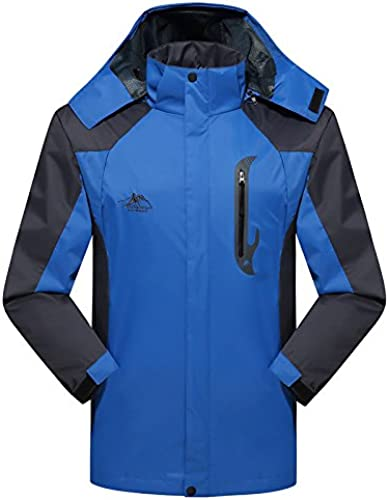 DYF Les Femmes Hommes Down veste Manteau Grande Taille Manches Longues Chapeau Chaud Fermeture éclair,M,XL-Bleu