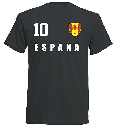 Spanien WM 2018 T-Shirt Trikot - schwarz ALL-10 - S M L XL XXL (XL)