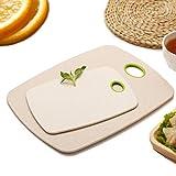 DKTOTIUP - Set di tagliere in paglia di grano ecologico, antibatterico, in polipropilene, tagliere per la colazione, tagliere in plastica, tagliere per il pane, tagliere da cucina (beige, L & S)