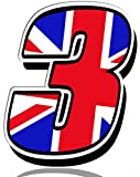 Biomar Labs® Número 3 Bandera Nacional de Gran Bretaña Reino Unido UK Calavera Vinilo Adhesivo Pegatina Coche Auto Motocross Moto Sport Start Racing Tuning N 293