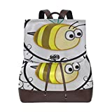 Bee Yellow Framed Cute Animal Design Baby Summer Backpack Pu Leather Women Backpack Leather Drawstring Waterproof Pu Leather Backpack Purse Leather Backpack For Teens For Women