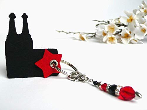 Anhänger Kölner Dom aus Filz mit Perlen schwarz rot Geschenk