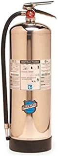 """Buckeye 50000 Stainless Steel Water Pressurized Hand Held Fire Extinguisher with Wall Hook, 2.5 Gallon Agent Capacity, 7"""" Diameter x 9"""" Width x 24-1/2"""" Height"""