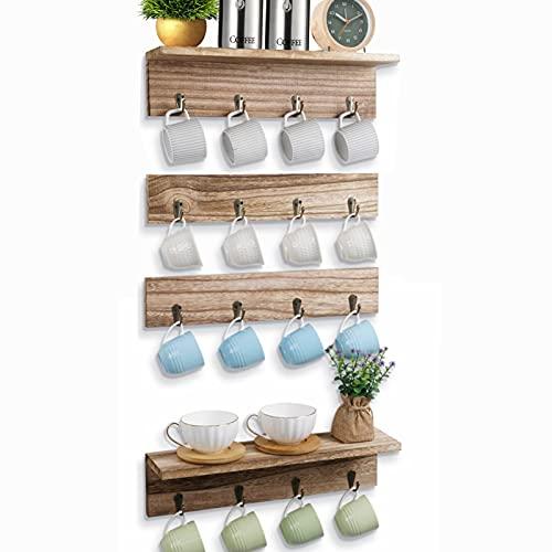 Juego de estantería para tazas de pared, soporte para tazas colgante con 16 ganchos, barra de ganchos de madera con estante, 4 piezas rústicas para colgar tazas para cocina, sala de descanso, pasillo