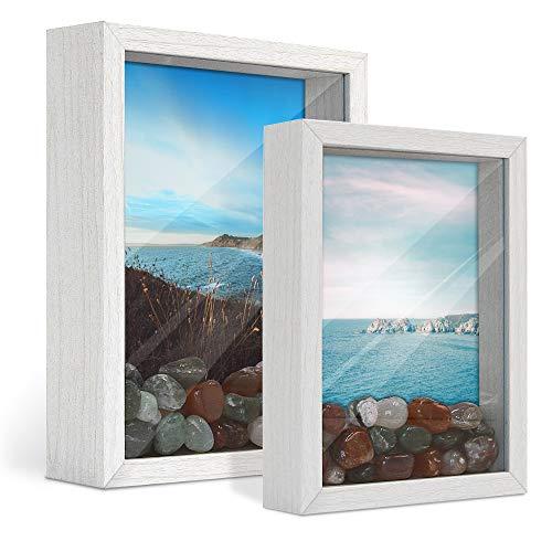 Afuly 3D Bilderrahmen Weiß Objektrahmen 13x18 und 15x20 cm Holz Shadow Box Wand oder Schreibtisch Baby Family Geschenk,2er Set